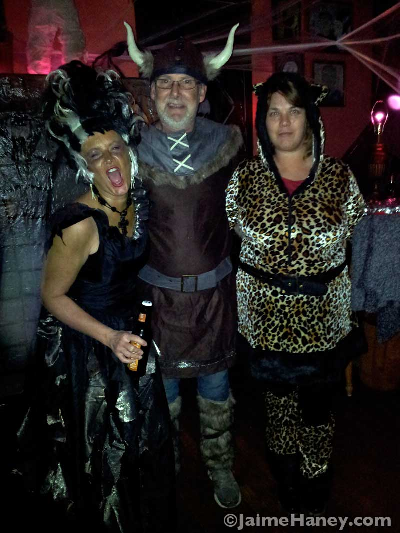 My hostesss, Bride of Frankenstein, a Viking and his Leopard Kitty