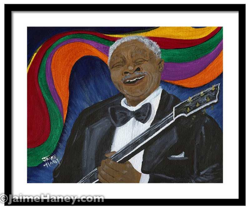 matted and framed print of B.B. King