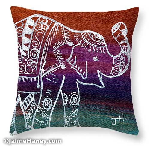 decorated Indian elephant on pillow