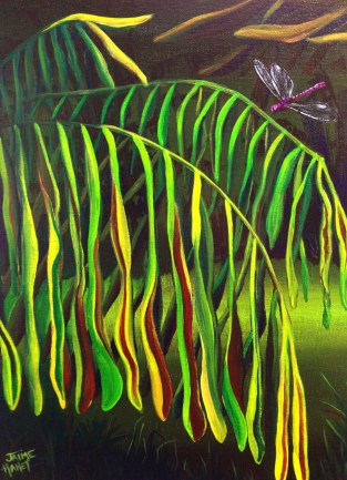 Leaf painting in abstract landscape