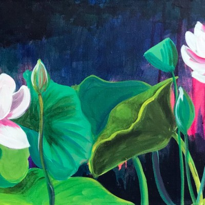 dramatic painting of lotus flowers and leaves