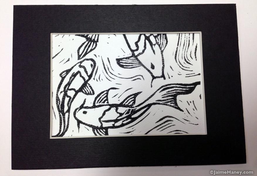 three koi fish black and white monoprint