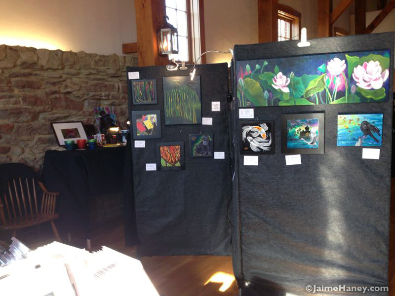 art booth of Jaime Haney at Christmas in New Harmony 2015
