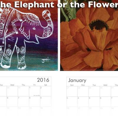 Elephant painting and poppy painting for calendar