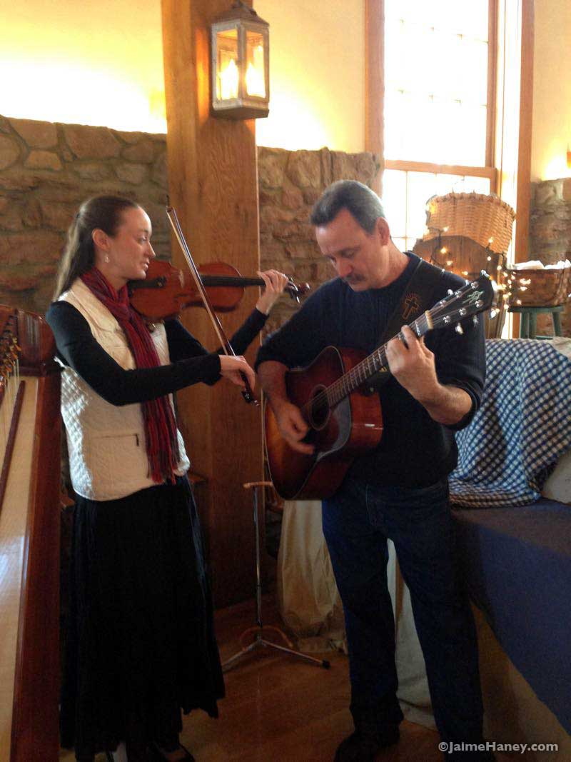 Elaine & Richard Wilson, harpist, violinist and guitarist at Christmas in New Harmony