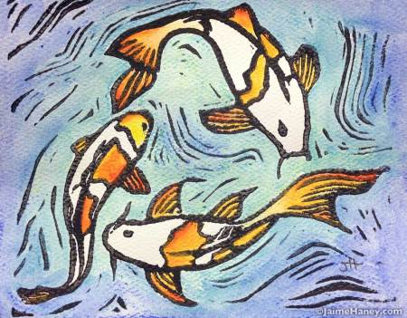 Koi fish hand pulled, hand embellished monoprint.