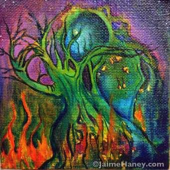 Tree man on fire