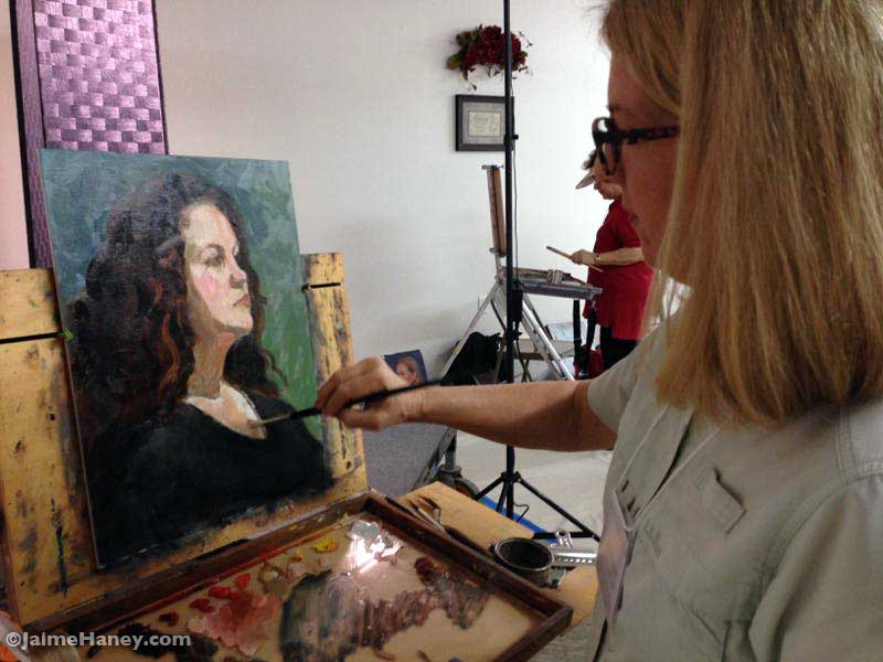 Laura Shepard working on her painting
