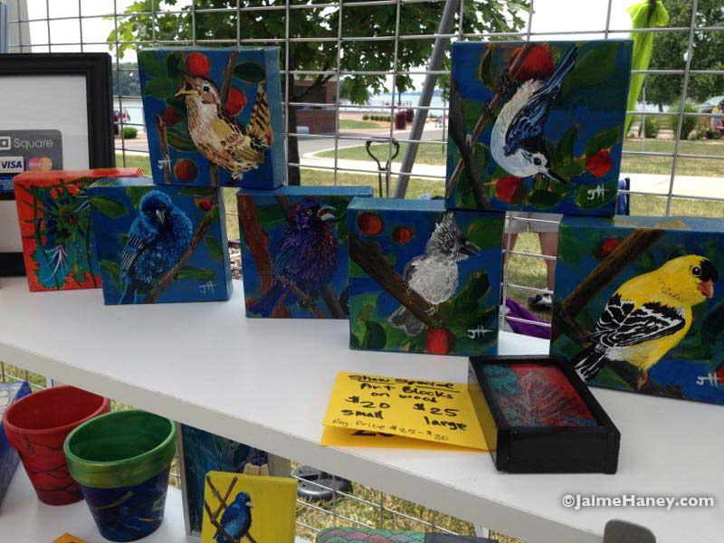 Mini bird paintings and wood block paintings