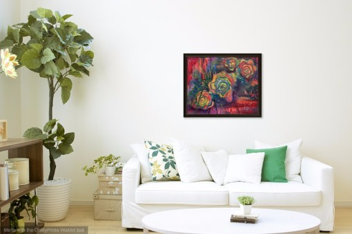 Rose Mystique painting by Jaime Haney shown in frame in living space