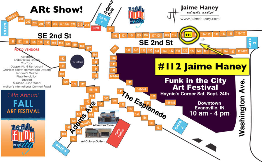 map for 2016 Funk in the City outdoor art show