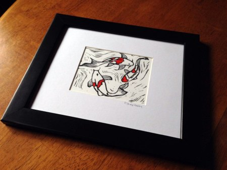 Koi Fish #2 block print shown framed