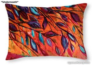 """20""""x14"""" pillow with painting """"Underneath"""" printed on it"""