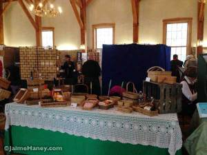 The basket weaver's booth at Christmas in New Harmony upstairs at the Rapp-Owen Granary.