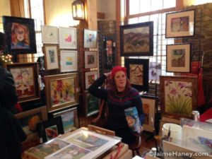 Julia London-Meddles art booth in the ARtisans Market at Christmas in New Harmony