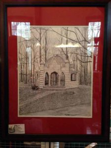 Mark Riggins drawing from Bloomington, IN at the Christmas in New Harmony ARtisans Market