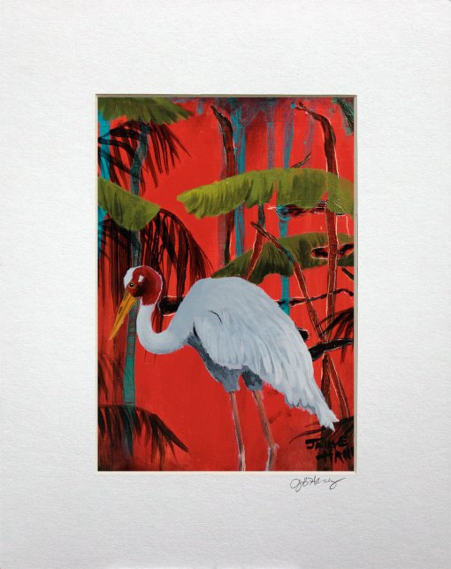cropped matted reproduction of a painting of a sarus crane