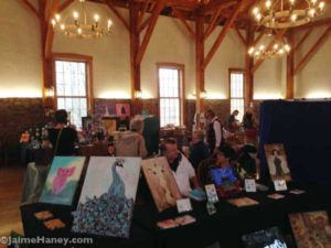 Art booth of Vicki Wilson at Christmas In New Harmony, artisan market