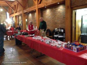 The concessions area for food and goodies downstairs in the Rapp-Owen Granary during Christmas in New Harmony.