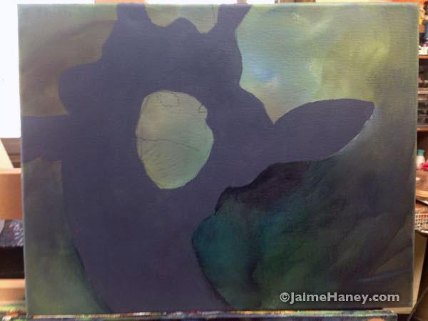 giraffe painting blocked in