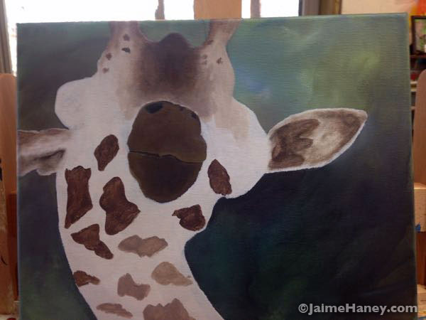 adding fur and spots to giraffe