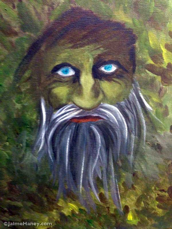 Green Man painting in progress