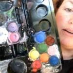 Showing face paint kit