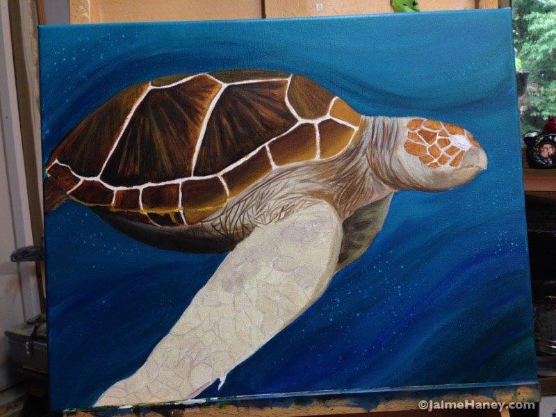 Sea Turtle painting work in progress