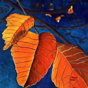 colorful orange leaves with a vivid blue background painting