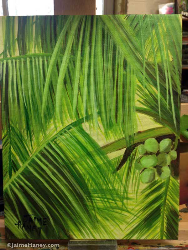 finished painting of a coconut palm tree on my easel