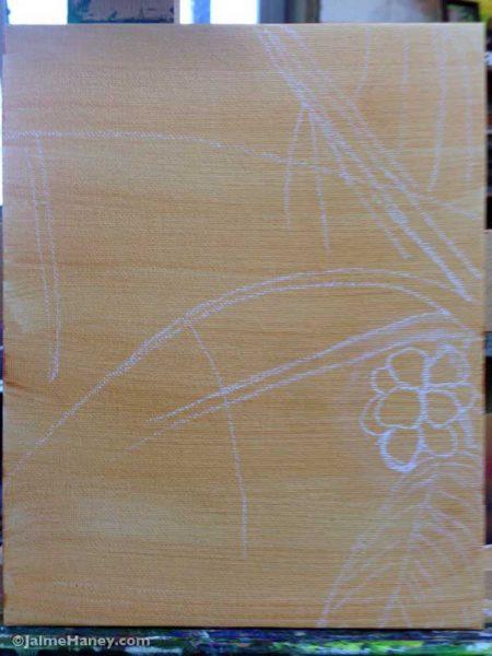sketch of coconut palm tree on my canvas