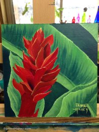 painting of red ginger plant