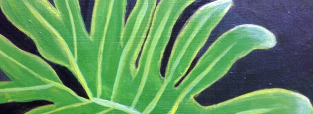 Day 15 Large Philodendron Leaf Painting