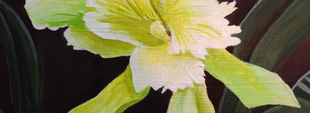 Day 13 Greenish Yellow Orchid Flower Painting