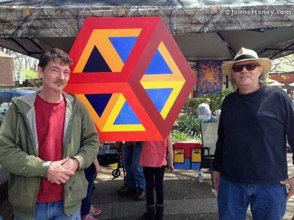 Daniel Fitzgerald and Glenn Ray with their cube painting