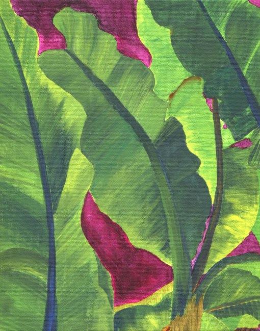 Banana leaves painting titled Magenta Mamb