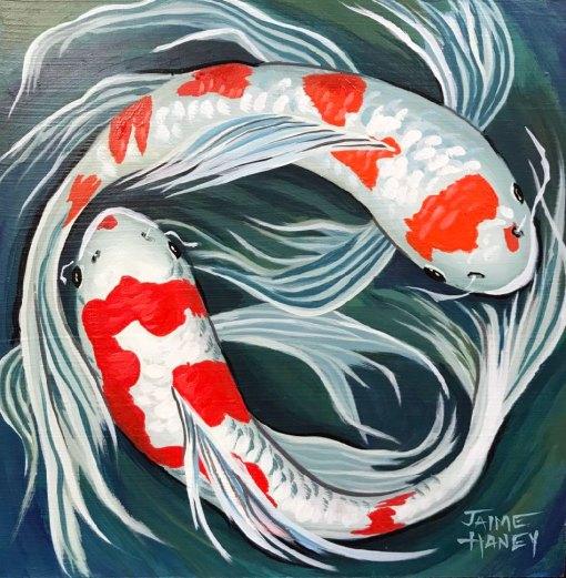 Finished koi fish painting