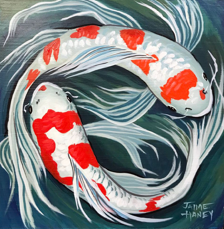 Finished koi fish painting