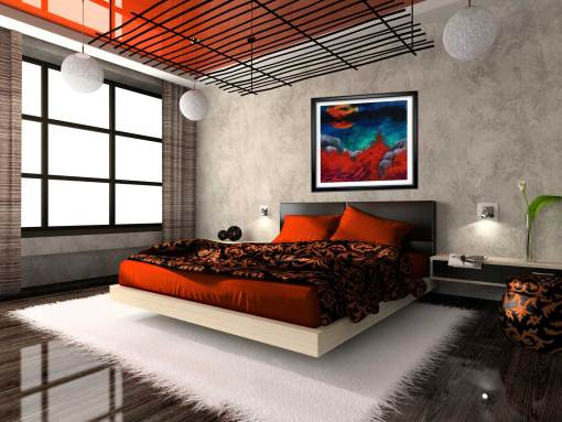Blood moon print shown in black frame in bedroom.