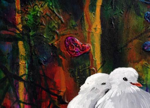 Close up detail of texture. Two white doves nuzzling together