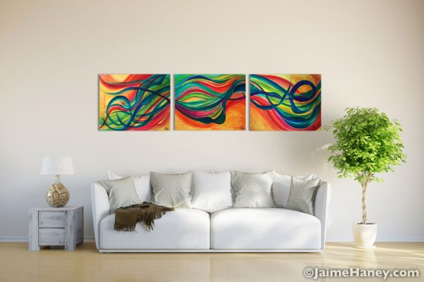 Mellifluous Wind painting triptych by Jaime Haney