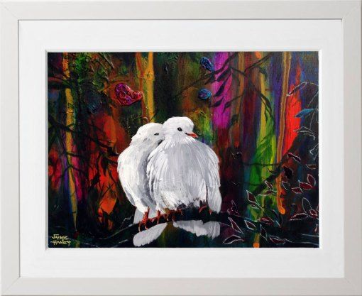 Economy print of two white doves nuzzling together