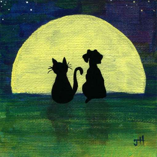 Cat and dog friends looking at the full moon sitting on a hill art print by Jaime Haney