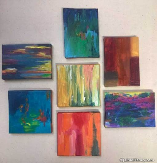 Abstract paintings on tiny canvas.