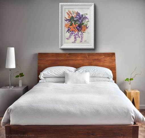 Bedroom with custom wedding bouquet painting on wall