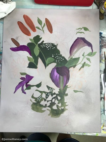 bridal bouquet painting process