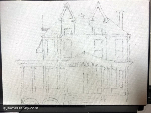 The starting sketch of the historic mansion