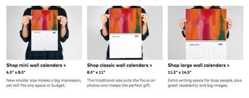 2020 Art Calendar sizes