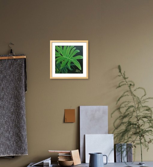 painting of a philodendron on beige wall