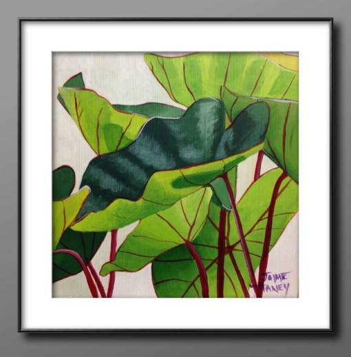 framed green and white painting of elephant ears plant